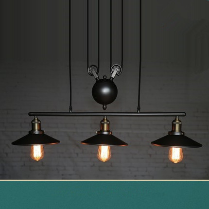 Industrial Pulley 3Head Pendant Lighting Fixture Kitchen Hanging Lamp Chandelier