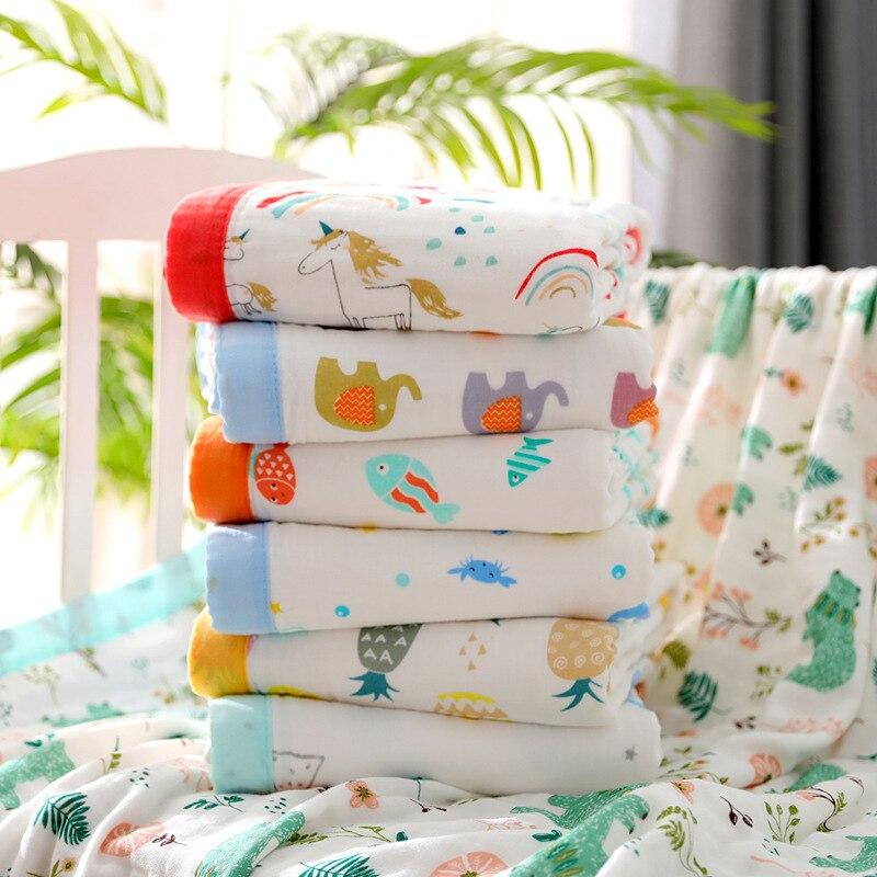150X120cm 6 Layers Big Size Baby Muslin Cotton Elephant Bordure Kids Summer Blanket Baby Receiving Blanket Baby Wrap Infant Wrap