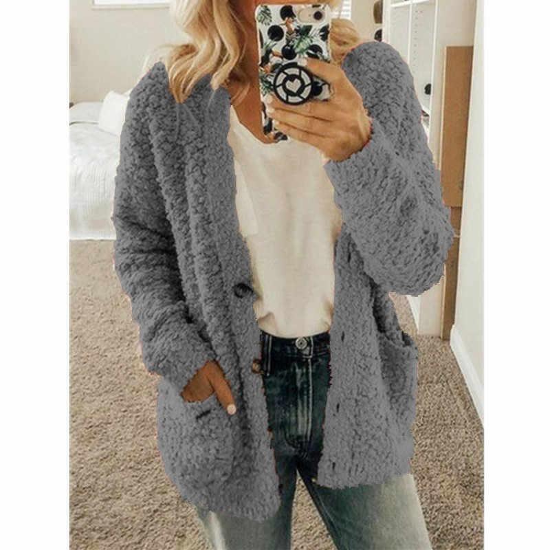 2019 الشتاء وصول المرأة القطن Fluffy سترة طويلة الأكمام السيدات الدافئة قميص سترة زر معطف جيب الصلبة سترة