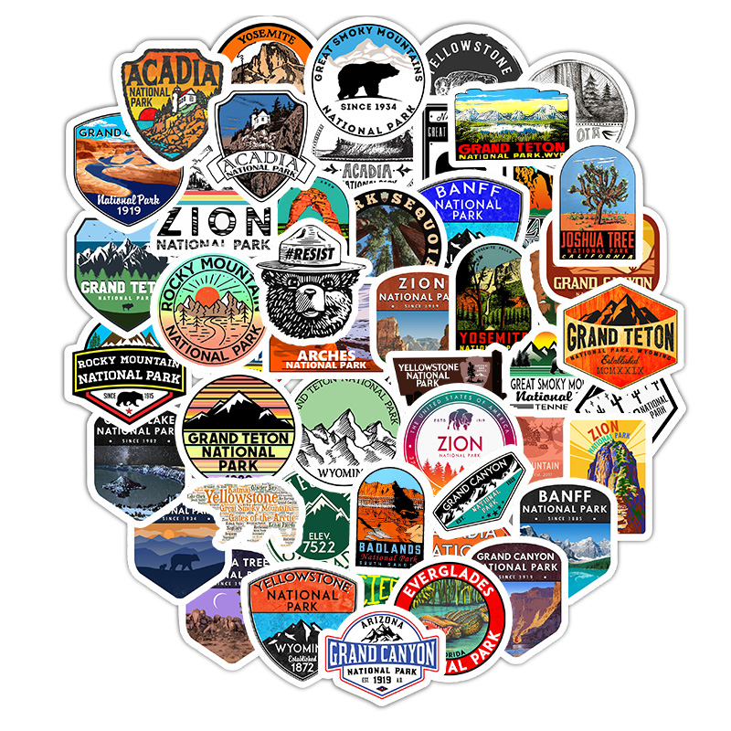 50Pcs National Park Zoo Icon Cartoon Stickers For Suitcase Skateboard Laptop Luggage Fridge Phone Car Styling Decal Sticker F5