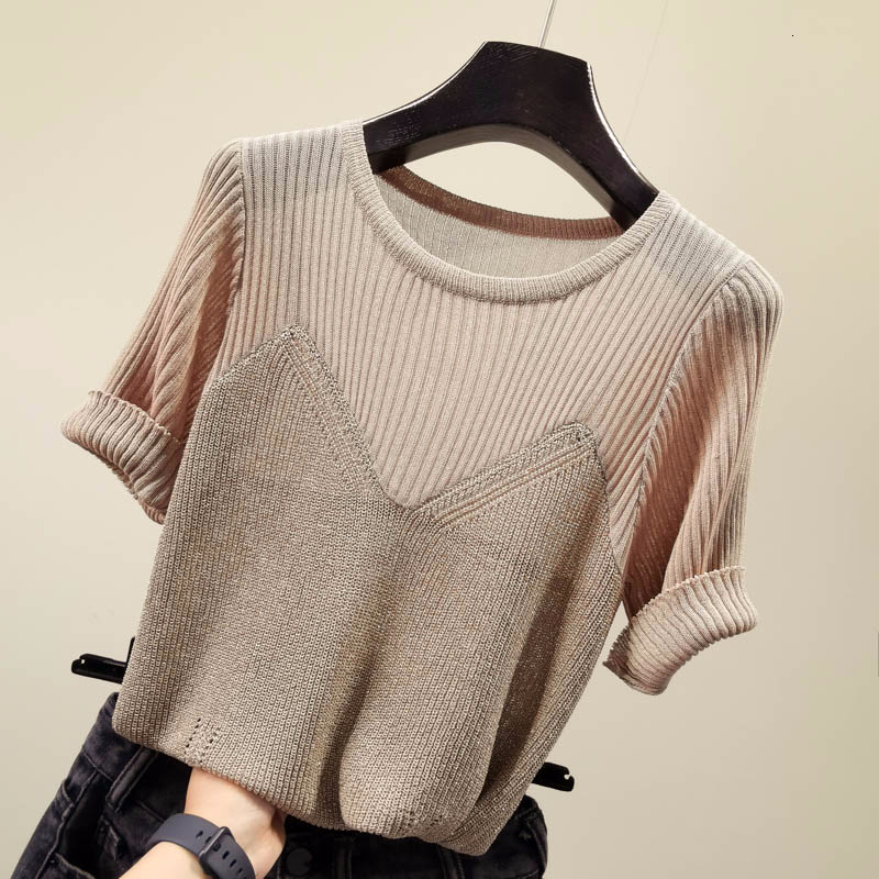 Fake Two Piece Patchwork Knitted Sweater Women Slim Thin Tops Korean Short Sleeve Modis Pullover 2019 Autumn O-neck Sweaters