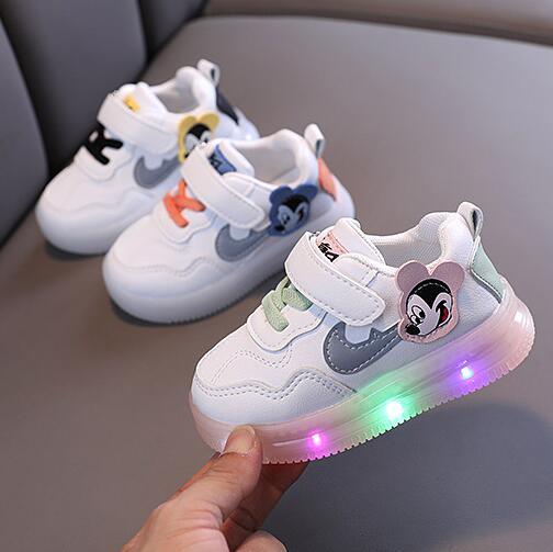 Диснеевский Микки детские светящиеся кроссовки с светильник детская обувь для мальчиков и девочек со светодиодами, светильник ed кроссовки ...