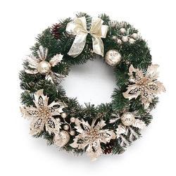 40 см красивый элегантный подвесной Рождественский венок гирлянда блестящий цветок фруктовый шар конус рождественские украшения оконная д...