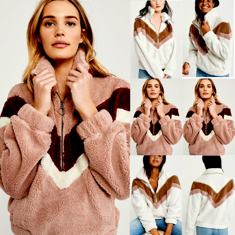 H6d6e7e807cd849c8b58d798f89729118V New Style Women Warm Teddy Bear Fleece Pullover Coat Zip Outwear Overcoat Long Sleeve Jumper Top Pullover Winter Warm Soft Coat