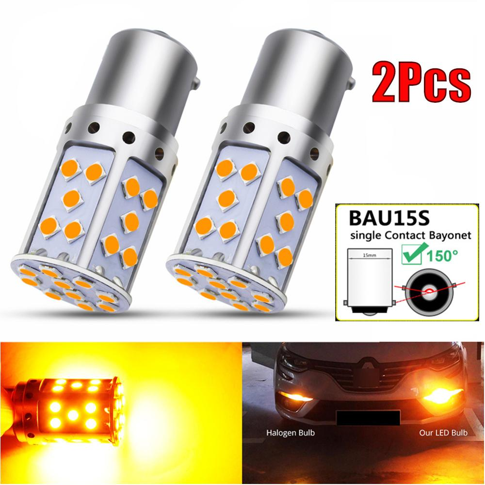 2Pcs Canbus Amber BAU15S 7507 PY21W 1156PY LED Bulbs For Car Turn Signal Light