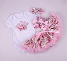 Geburtstag Baby Set Sommer Kurzarm Roupas Infantis Bebes Ostern Festival Outfit + Tutu Pettiskirt Kleid Party Kleidung Sets(China)