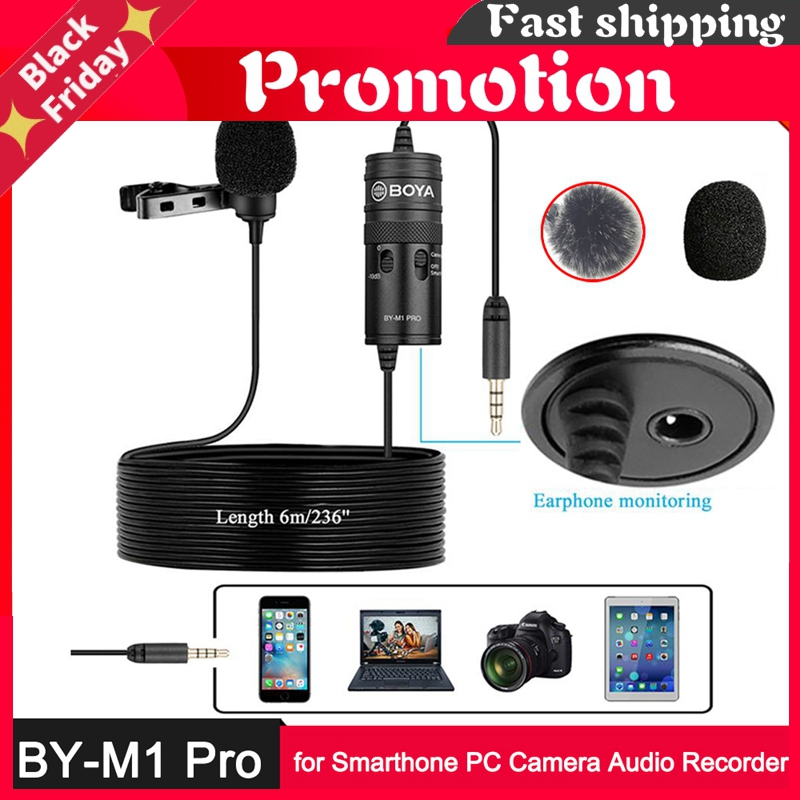 By-M1 Pro Lavalier Microphone -10db Monitor 6m Mic For Iphone Huawei Oppo Vivo Xiaomi Smartphone Pc Camera Audio Recorder