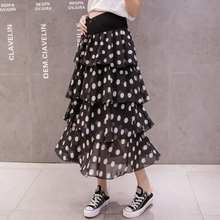 8182# Polka Dot Printed Chiffon Maternity Skirts Across V Low Waist Belly Skirts Clothes for Pregnant Women Summer Pregnancy elastic waist belly maternity long skirts bottoms clothes for pregnant women autumn charming knitted pregnancy skirts pregnant