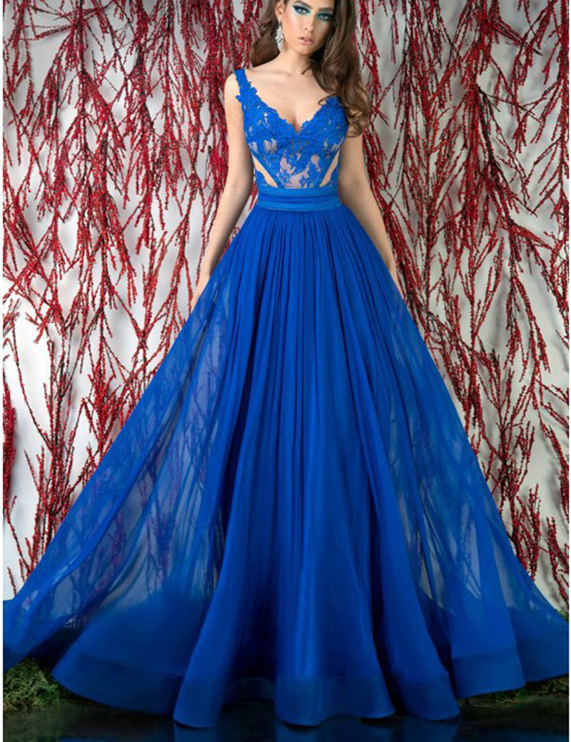 Free Shipping Chiffon Evening Prom Gown Floor-Length V Neck Blue Sheer Lace Backless Blue 2018 Mother Of The Bride Dresses