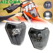 Led 12V Dirt Bike Koplamp Koplamp Motocross Hi/Lo Beam Front Light Voor Exc EXC F XC W Zes Dagen tpi Te Tc Fe Tx 125 500