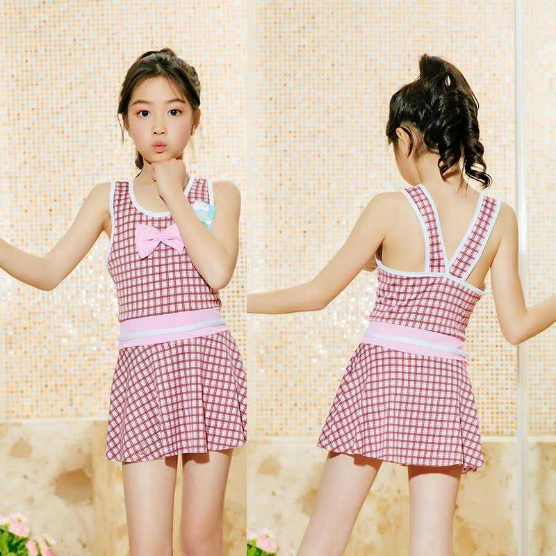 Children's Swimwear Girls 19 New Style Korean-style Cute Princess Baby Girls Small Plaid 6-9-Year-Old Children Swimsuit