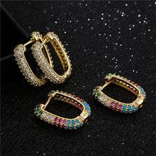 NEWBUY Brand Unique Design Geometric Hoop Earrings For Women Girl Fashion Colourful CZ Women Wedding Jewelry Promise Gift