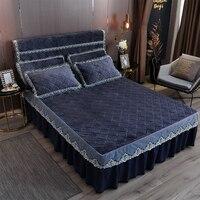 Jeefttby  корейский стиль  Одноцветный Комплект постельного белья  1 шт.  толстая Флисовая теплая зимняя покрывало для кровати King Queen  2 размера  к...