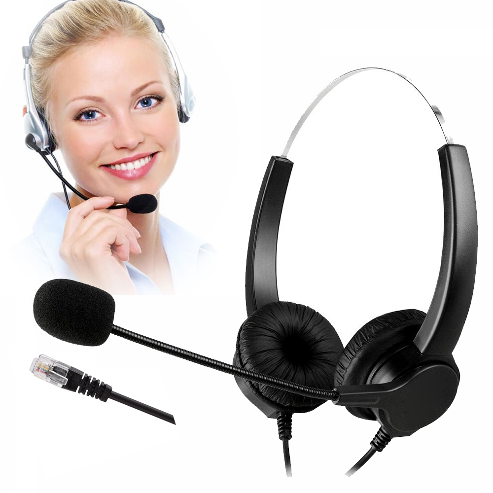 Best Corded Telephone Headset With Microphone Noise Cancelling Telephone Headset For Call Center With Adapter For Most Telephone Telephone Headsets Aliexpress
