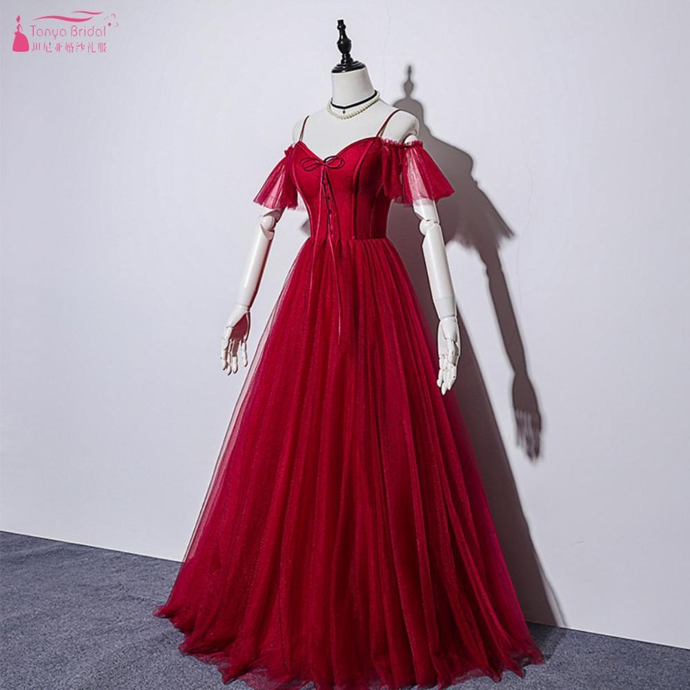Red Prom Dresses 2020 Draped Lace Up Back Ruffles Sleeves V Neck Formal Women Evening Dress Modest Vestido De Festa DQG1043