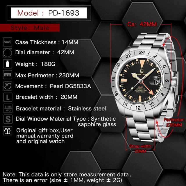2021 New PAGANI DESIGN Men Automatic Mechanical Watch Classic Retro GMT Watch Stainless Steel 200m Waterproof Clock Reloj Hombre 2