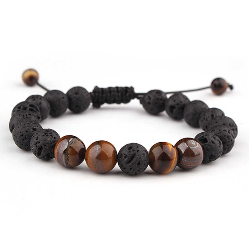 LISTE&LUKE Adjustable Lava Stone Beads Charm Bracelets Jewelry Healing Balance Yoga Tiger Eye Bracelet For Men Women