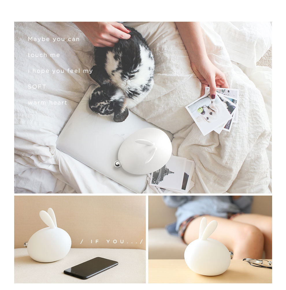 Home Bedroom Cute Rabbit Shape Night Light Rechargeable USB Silicone Night Lamp Light Color Change Eye Protective Lamp Decor in LED Night Lights from Lights Lighting