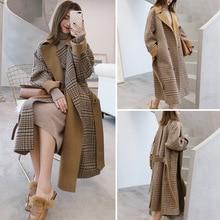 цена Autumn Women's Wool Plaid Coat New Fashion Long Woolen Coat Elegant Female Winter Wool blend jacket Female Double Breasted coat