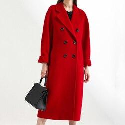 Inverno mistura de lã feminina coreano moda preto longo casacos novo vintage minimalista elegante casaco de lã camelo oversize outwear