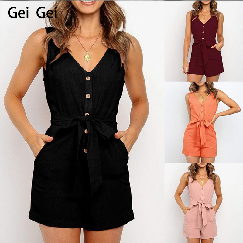 New Women Casual V-neck Jumpsuit Retro Button Sleeveless Jumpsuit Lady Mid Waist Straight Belt Bow Pants Overalls