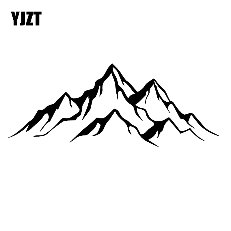 YJZT 7CM*17.7CM Adventurer's Favorite Powerful Mountain Pattern Decal Car Motorcycle Sticker Black/Silver C30-0420