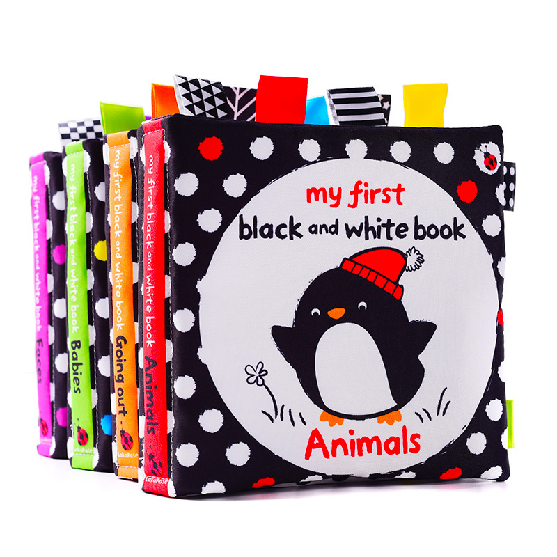 LakaRose Baby Black And White Label Cloth Book Newborn Infant Early Education Books Cloth Quiet Books