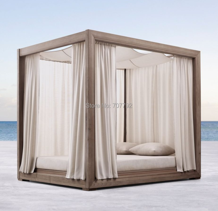 - Weathered Teak Wooden Outdoor Garden Teak Lounge Chair Canopy