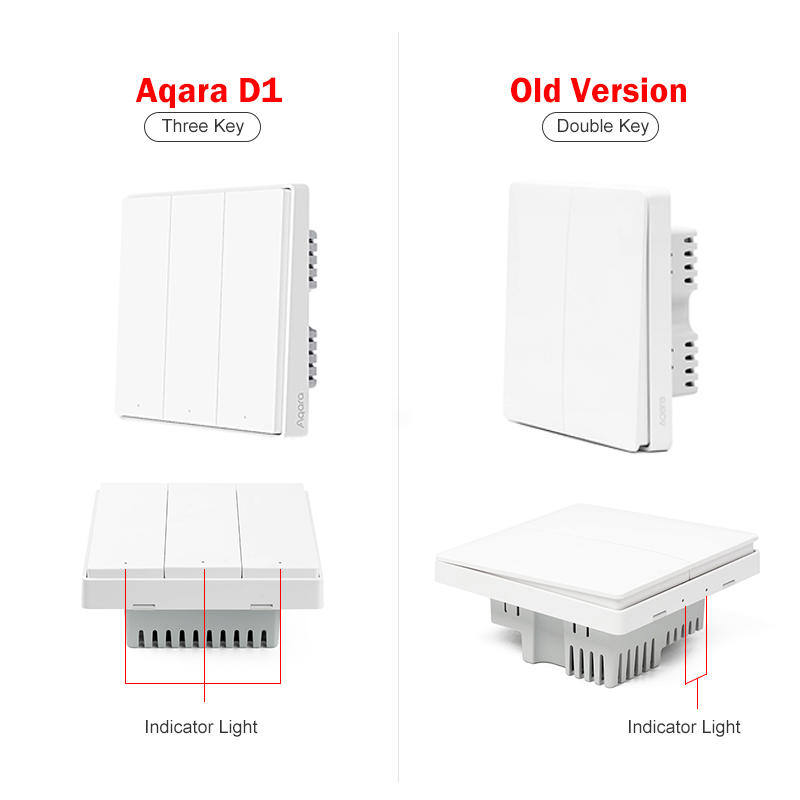 Aqara Wall Switch D1 Zigbee Smart Zero Line Fire Wire Light Remote Control Wireless Key WiFi Switches No Neutral For MI Homekit