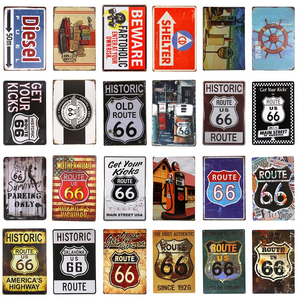 DL-Yard sign route 66 vintage Tin Sign coffee bar house rules wall art posters antique tray