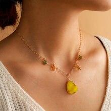 Tocona coloré goutte d'eau strass pendentif collier pour les femmes couleur or alliage métal chaîne tour de cou fête bijoux cadeau 14049