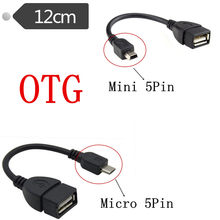 Micro / Mini USB OTG Cable Data Transfer Samsung HTC Android Micro / Mini USB Male-to-Female Adapter 12cm(China)