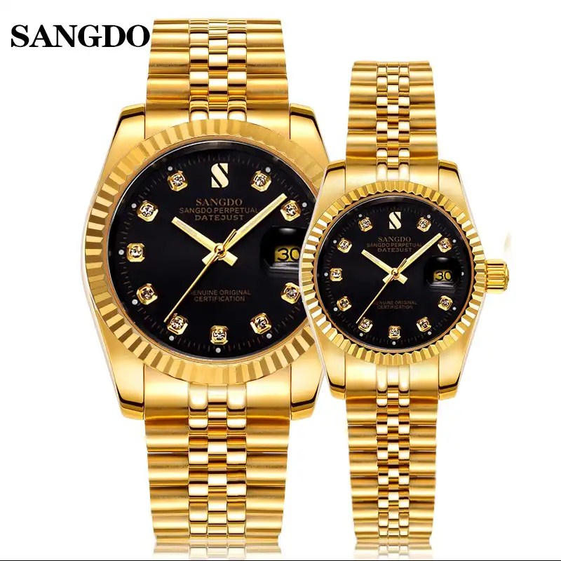 SANGDO Brand Lovers Full Steel Watches Classic Elegant Business Designer Men Women Full Steel Wrist watch Crystals <font><b>Couples</b></font> Watch image