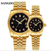 SANGDO Brand Lovers Full Steel Watches Classic Elegant Business Designer Men Women Full Steel Wrist watch Crystals Couples Watch