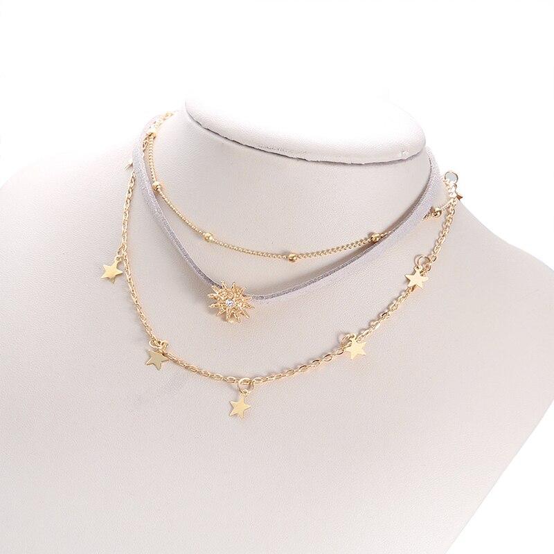 Trend Pentagram Sun Multi Layer Pendant Necklace Women's Flannelette Gold Chain Choker Fashion Party Jewelry Gifts