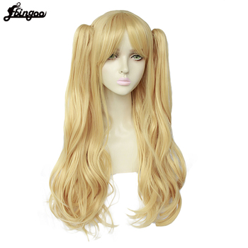 Ebingoo High Temperature Fiber Long Body Wave Blonde Synthetic Cosplay Wig with Bangs and Double pigtails for Women Halloween ebingoo rabbit ears silver grey long double braid judy bunny synthetic cosplay wig for party rabbit ear props