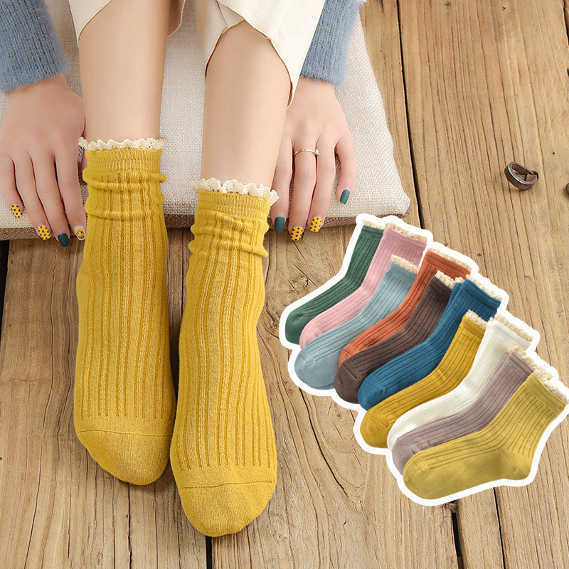 MS Girls Fashion Lace Ruffled Soft Cotton Women's Socks Quality Spring And Summer Cute Socks Breathable Solid Color Pile Socks