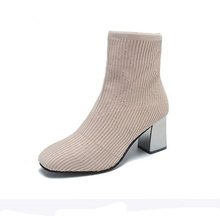 strench fabric ankle boots  block high heels shoes fashin sock woman stretch women socks booties