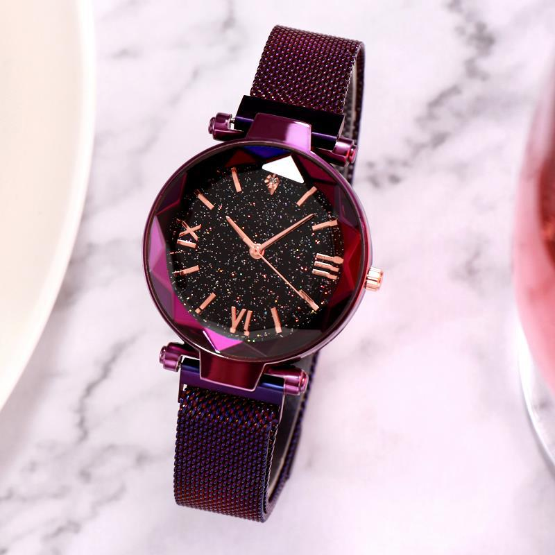Luxury Women Bracelet Watches Magnetic Buckle Mesh Strap Roman Display Star Sky Ladies Student Dress Fashion Quartz Wristwatch