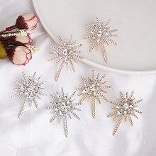 Atacado jujia nova moda brinco de cristal branco brinco brinco bonito floco de neve brincos para as mulheres estrela jóias presente natal