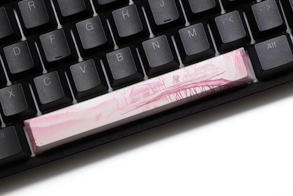 Novelty allover dye subbed Keycaps spacebar pbt custom mechanical keyboard plum blossom miku snowman ink painting
