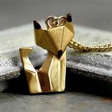 Креативное простое женское ожерелье с золотой лисой оригами