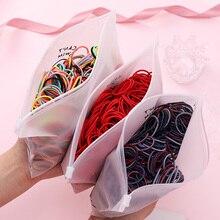 100 шт./компл. сумка упаковывается девочки, изящное яркое; резинка для волос, обтянутая тканью; резинки с завязками для хвост держатель резинка для волос из стильная повязка на голову женские аксессуары для волос