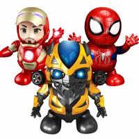 Nouveau héros de danse Bum Iron Man Spider Man Robot avec lumière Flash de musique Tony Stark figurine électrique jouet pour enfants avec boîte