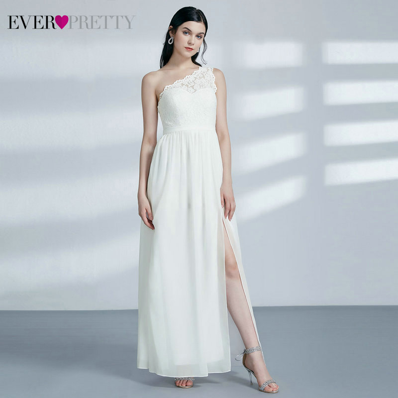 Elegant Lace Bridesmaid Dresses Ever Pretty EP07362CR A-Line One Shoulder Side Split Sleeveless Wedding Guest Dress Vestidos