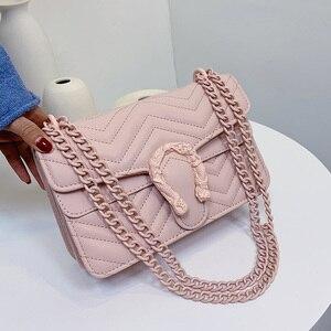 Image 3 - Bolso de marca de moda de color caramelo para Mujer, bandolera de cuero de PU suave de diseñador con cadena, Bolso de hombro tipo bandolera, Bolso de mano para Mujer