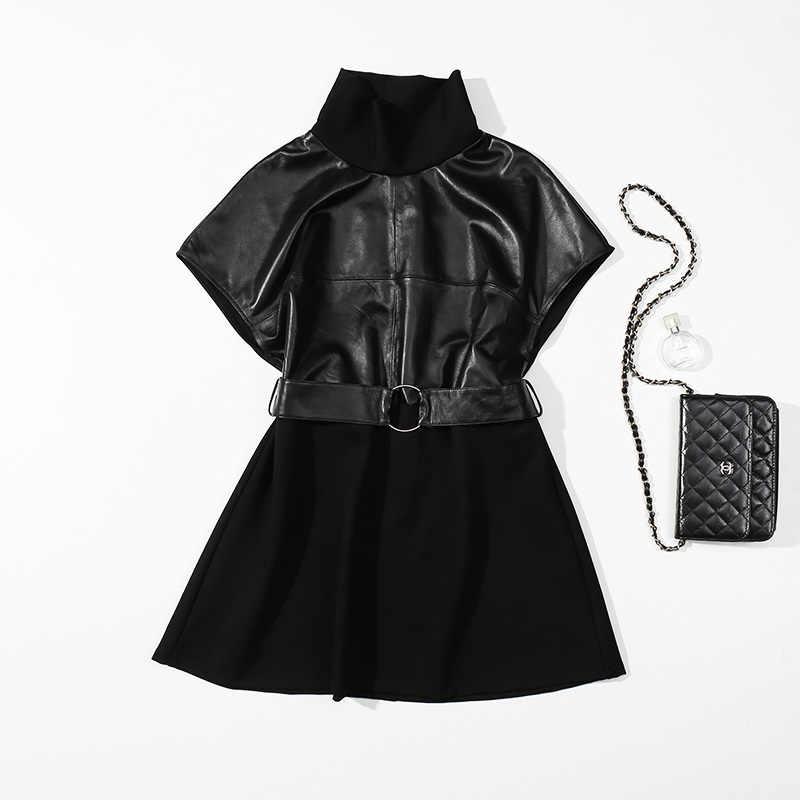 2020 Nieuwe Collectie Vrouwen Jurk Katoen Leer Stiksels Plus Size Vrouwen Shorts Mouwen Riem Vintage Slanke Koreaanse Stijl Vrouwen Jurk