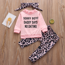 3Pcs Newborn Baby Girl Clothes Set Fashion Long Sleeve T-shirt Leopard Pants Headband Cotton For Infant Girls Clothing Outfits chivry 4pcs cute infant baby girls boys unicorn clothing long sleeve bodysuit top pants headband hat girl outfits clothes set