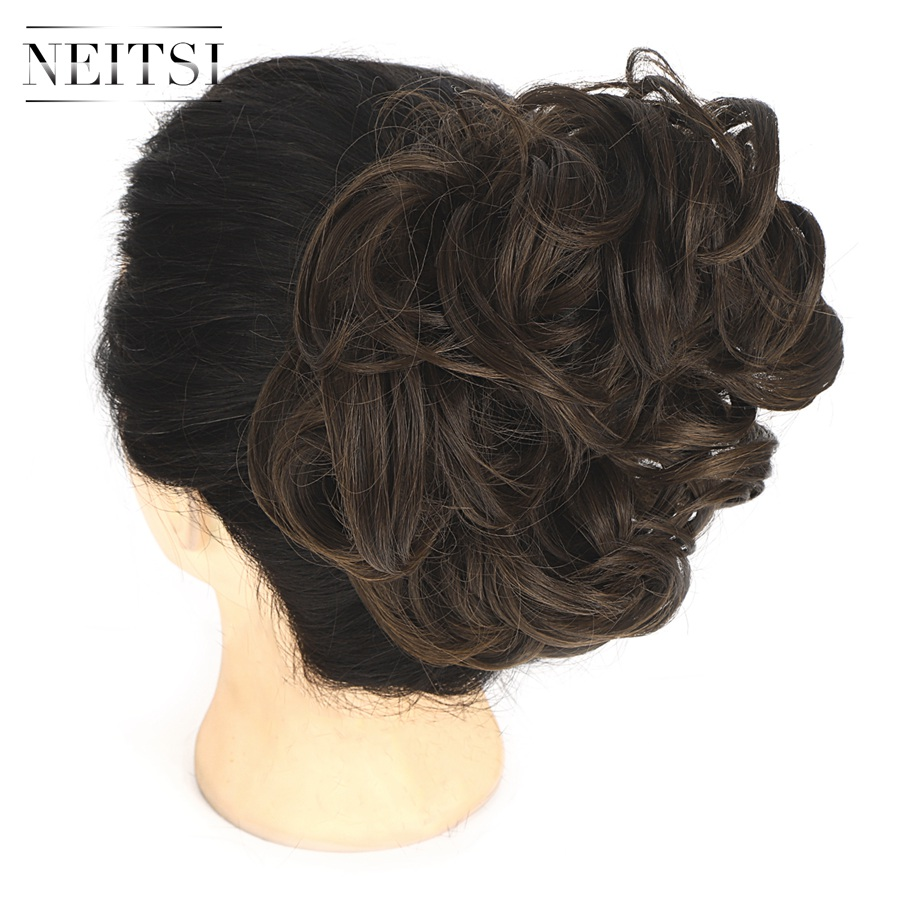 Neitsi Messy Bun Synthetic Hair Extensions Curly Wavy Donut Chignon For Women Styling Tool