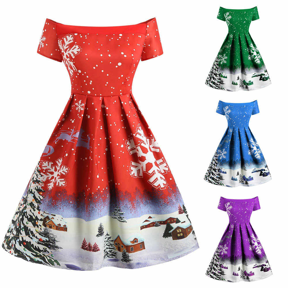 Winter Christmas Dresses Women Vintage Robe Sewing Pinup Elegant Party Dress Short Sleeve Casual Plus Size Print vestidos